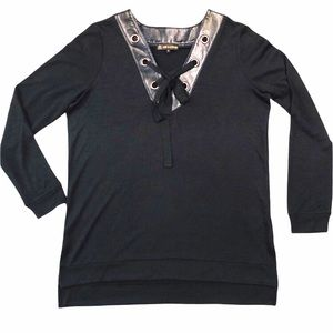 Love & Legend Pleather Collar Lace Up Long Sleeve